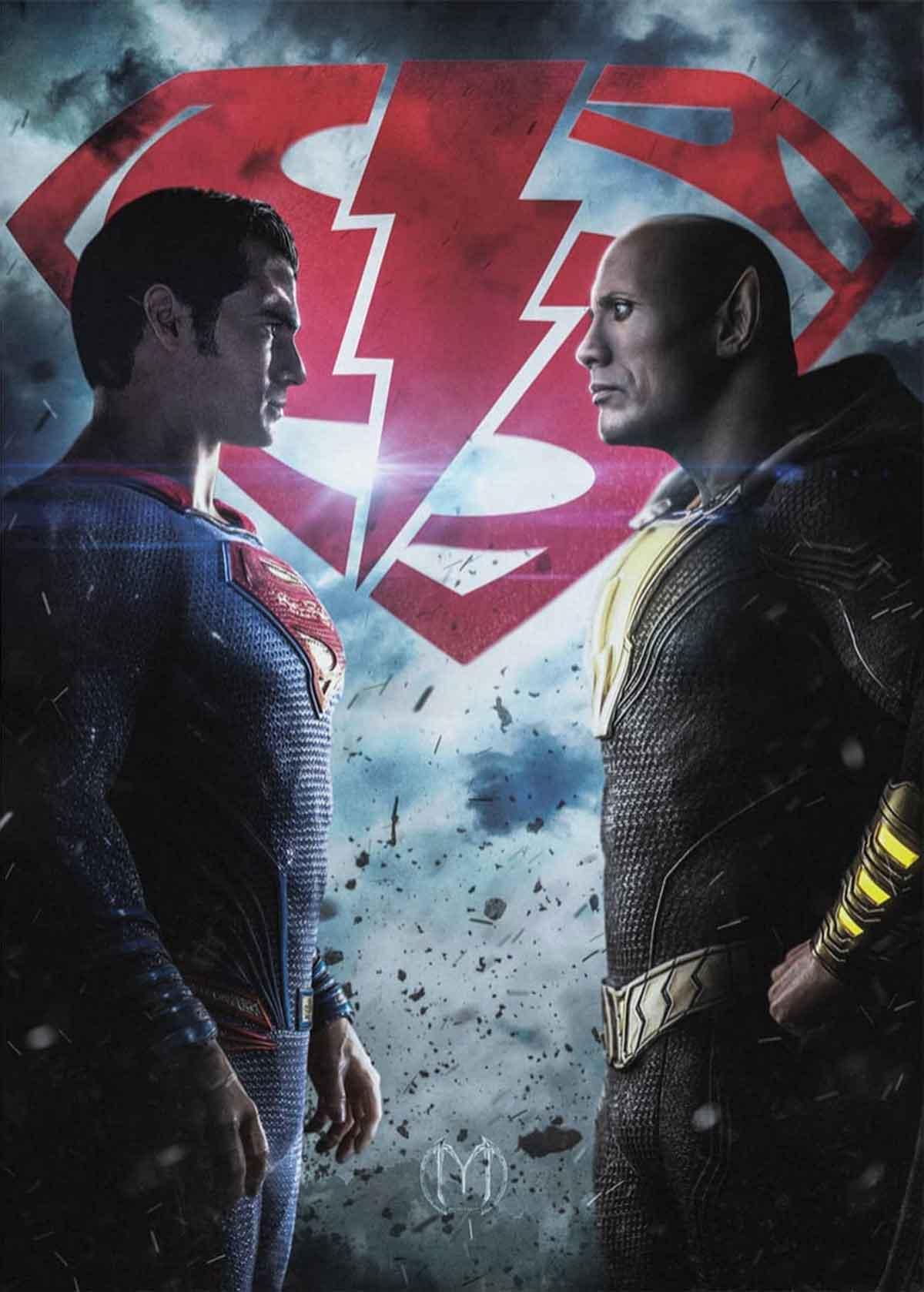 Spectacular Super Art Fan Art (Henry Cavill) vs Black Adam (Dwayne Johnson)