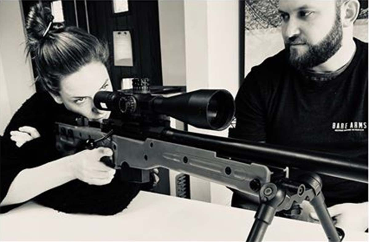 Rebecca Ferguson practices as a sniper for Mission Impossible 7