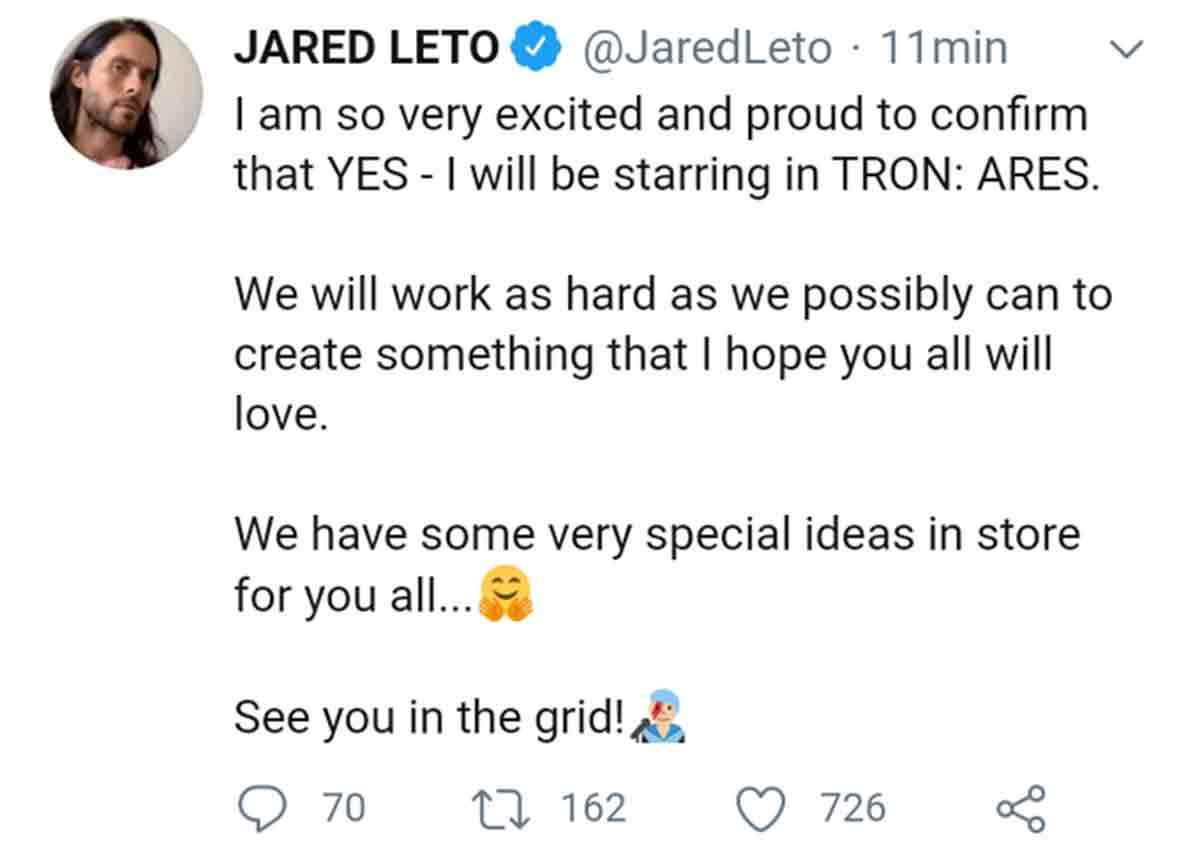 Jared Leto reveals the title of Tron 3 and then deletes the Tweet