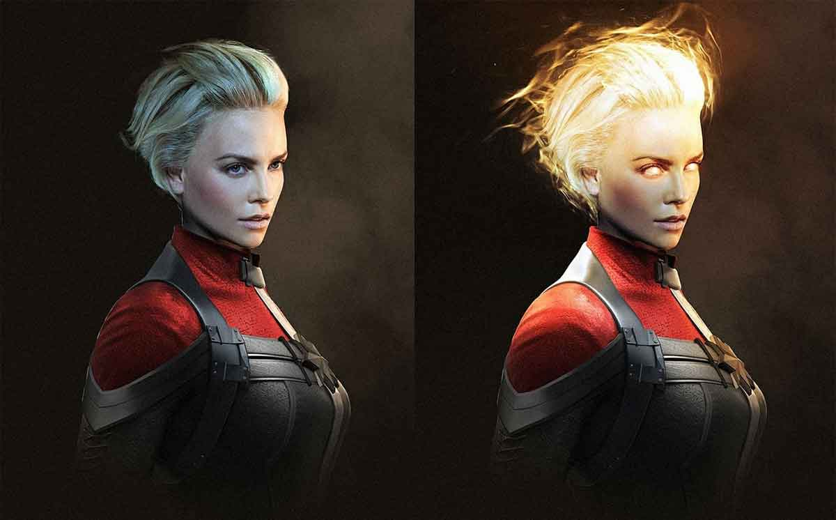 Spectacular Fan Art of Charlize Theron as Captain Marvel